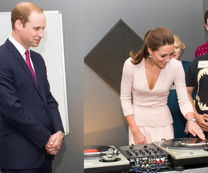 A royal tour is also the perfect opportunity for the Cambridges to show off their softer side - DJ Middy had no qualms hitting the decks during a visit to a youth community centre in Adelaide in 2014, while a bemused William watched on.