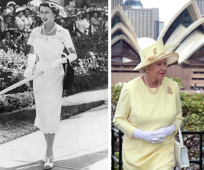 Over the years Her Majesty, pictured in Sydney in 1954 on the left and in the Harbour-side city once again in 2006 on the right, has made countless trips to Australia. Each time she has brought her trademark charm and elegance.