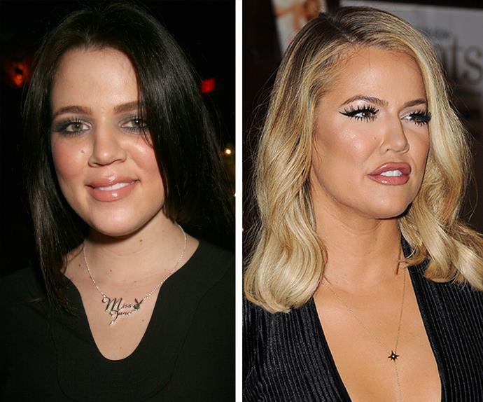 Aged 22 in 2006 (L) Khloe was a fresh-faced young woman on the cusp of her mega-successful reality TV career, and these days (R), the 31-year-old is almost unrecognisable as her stardom continues to sky-rocket.