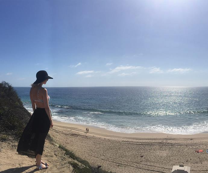 Taking in the beauty that is Crystal Cove beach.