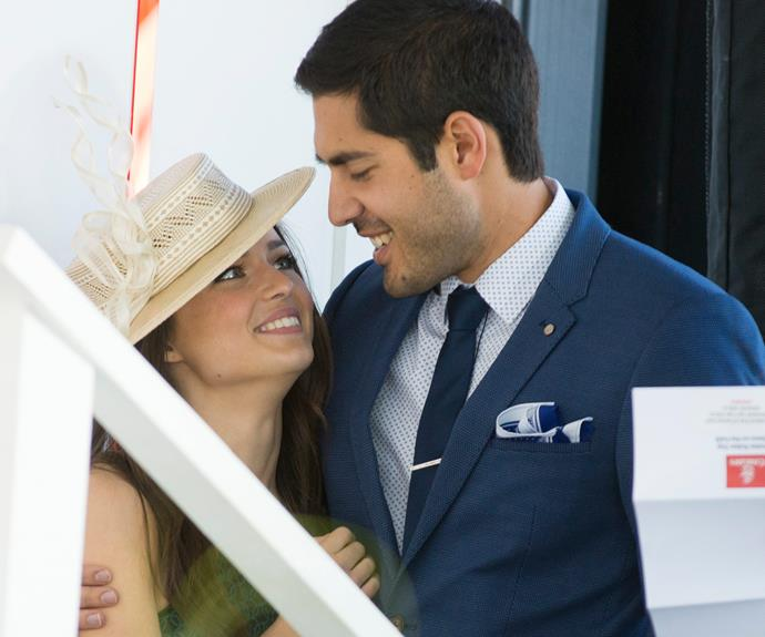 He popped the question to girlfriend Fely Irvin just 11 months ago, but that hasn't stopped *Home And Away* star Tai Hara from getting cosy with co-star Philippa Northeast at Stakes Day in Melbourne.