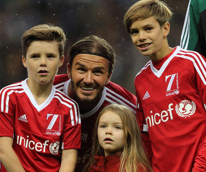 Becks shares a happy snap with kids Cruz, Harper and [Burberry star Romeo](http://www.womansday.com.au/style-beauty/fashion/romeo-beckham-stars-in-the-new-burberry-campaign-14048) after the match.