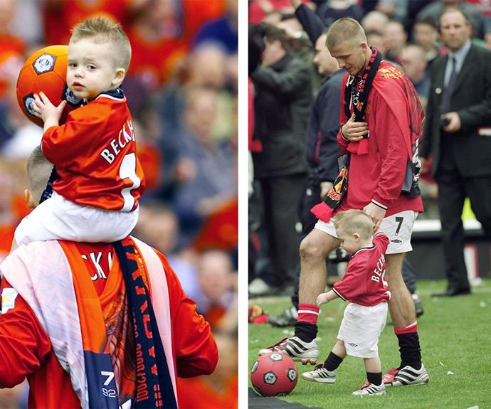 "Coming full circle: ""One of my lasting memories was walking this little boy around Old Trafford age just 18 months.... Good to be home,"" David mused of this wonderful moment shared with Brooklyn in 2001 after his then-team, Manchester United, won the premiere league."