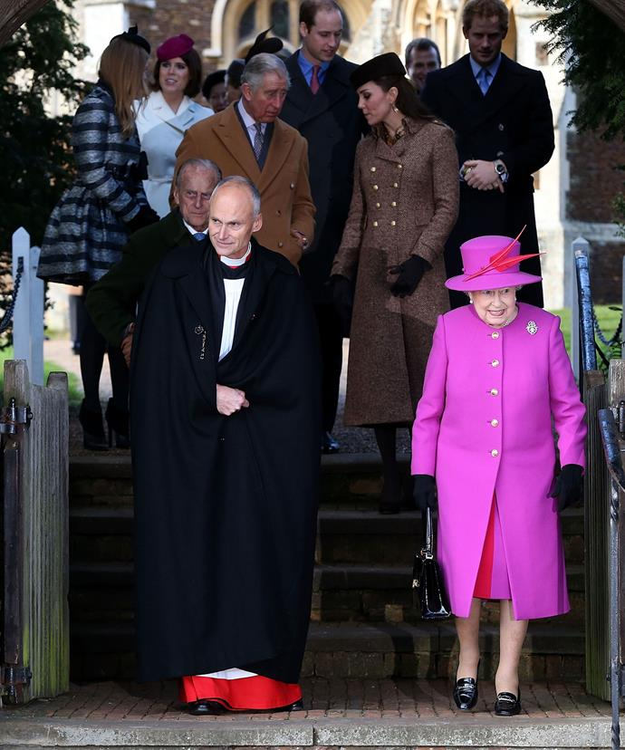 The Queen leads the royal family as the greet the crowds at the Christmas Day service in Sandringham last year.