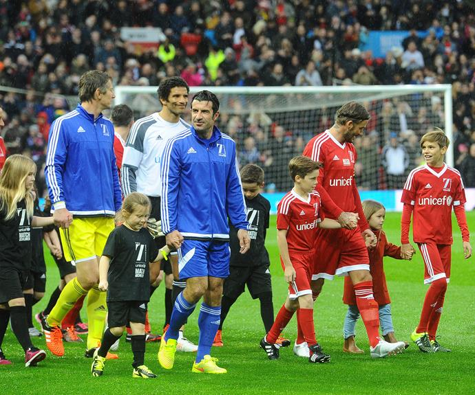Too cute! The players were surrounded by the kids for the match.