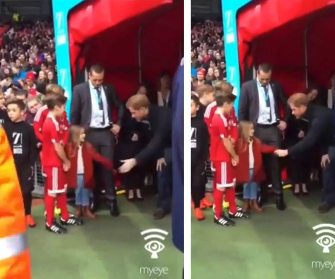 When two worlds collide! Prince Harry met Harper Beckham during the UNICEF charity match in Manchester on Saturday.