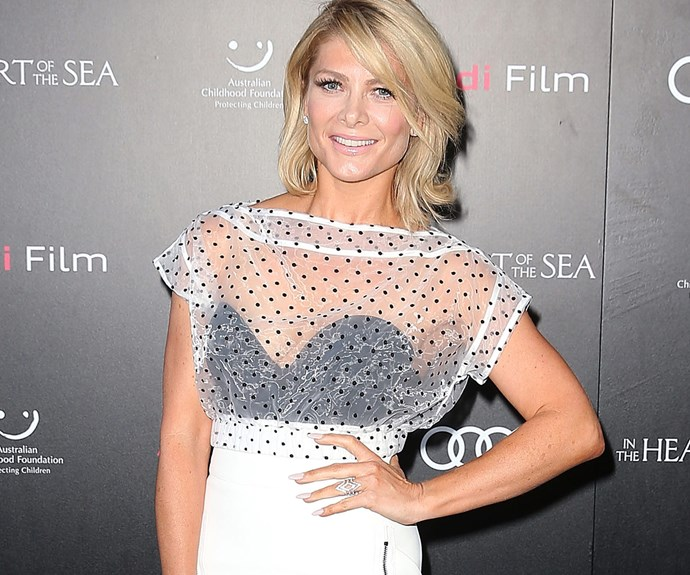 Looking radiant in a sheer number, Natalie Bassingthwaighte.