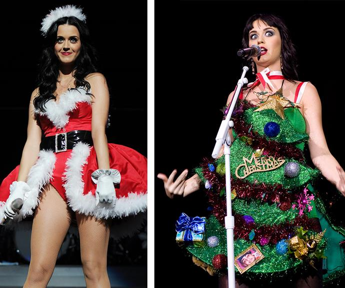 Katy Perry takes her festive cheer to the next level in a naughty Santa dress and a Christmas tree costume.
