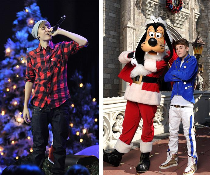 Before he was all quirky glasses and scruffy hair, a baby-faced Bieber just wanted to sing you carols and hang out with Disney's Pluto.