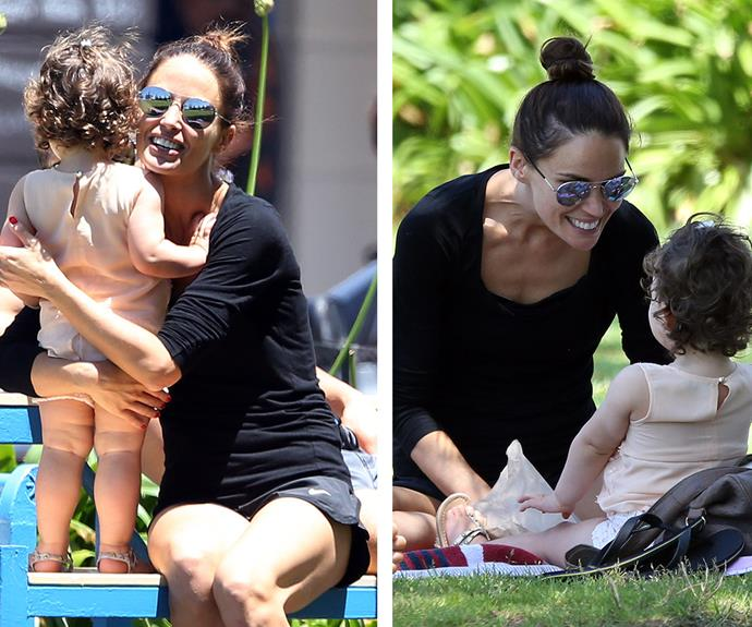 Cuddles! The 30-year-old star and her one-year-old daughter beamed with happiness.