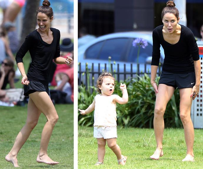 Jodi kept things casual in black gym attire, a glowing natural complexion and a high bun.