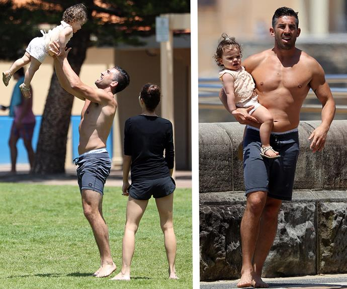 Proud papa Braith, 33, looked enamoured with his darling daughter.