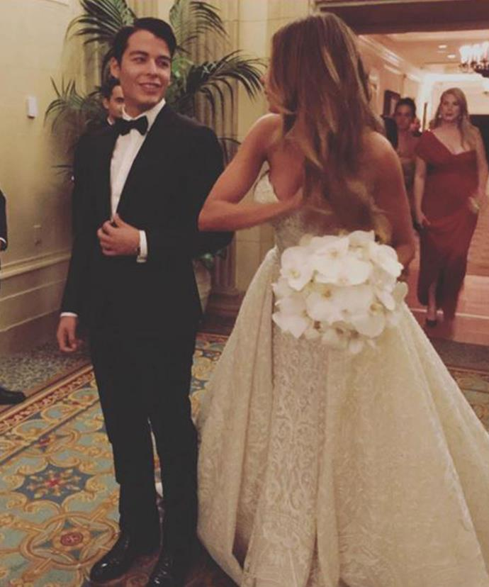Sofia was walked down the aisle by her 23-year-old son, Manolo.