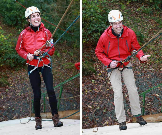 """I'm quite enjoying this actually. For once I'm in control,"" Duchess Catherine quipped as she descended down the wall."