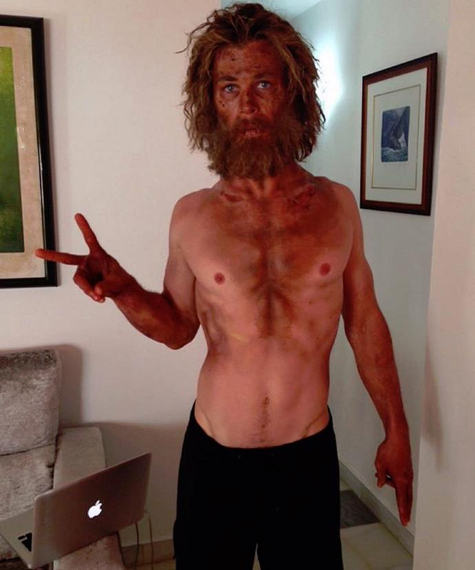 """Well, surprise! This is what Chris looks like now, after losing 7kg in preparation for his role in Ron Howard film *In The Heart Of The Sea*. The 32-year-old shared this shocking snap on Instagram and mused, """"Just tried a new diet/training program called """"Lost At Sea"""". Wouldn't recommend it.. #IntheHeartoftheSea."""""""