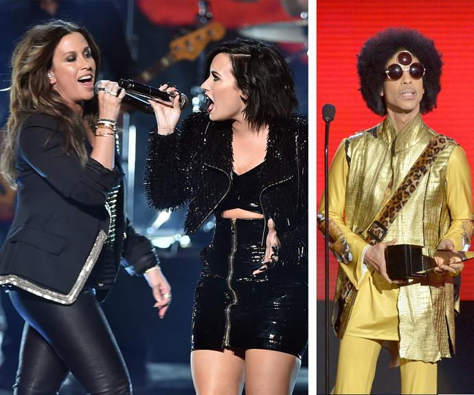 The evening defintely was an ode to the nineties with Alanis Morissette belting out her 1995 classic, *You Oughta Know* with Demi Lovato. And of course there was Prince, who was presenting and, well, being optimal levels of Prince.