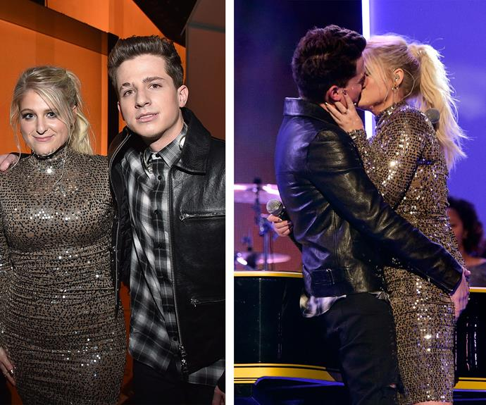 But it wasn't all heartbreak. What's an award ceremony without a pash... Cue Meghan Trainor and Charlie Puth. The pair left audiences stunned when they ended their Marvin Gaye duet with a full-on makeout session.