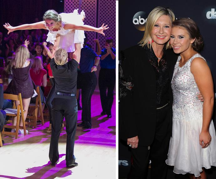 """Bindi and Derek nailed the *Dirty Dancing* lift in week six earning them a perfect score. """"I have honestly never been more nervous in my entire life,"""" Derek admitted after the performance."""