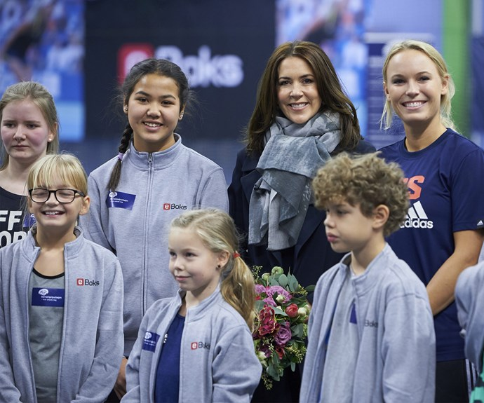 Crown Princess Mary of Denmark attended the Children's Aid Day. The tennis-inspired event also welcomed special guest, Danish tennis star, Caroline Wozniacki in country's capital, Copenhagen.
