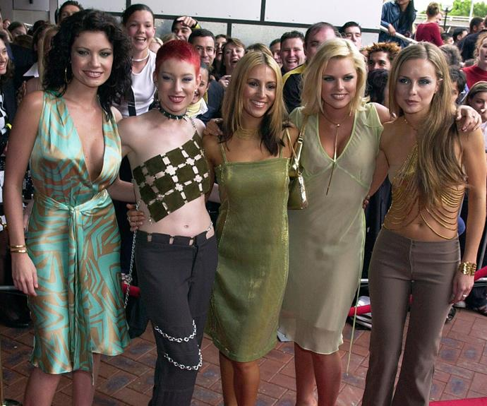 Never forget Sophie Monk's origin story! The *Love Island* host got her start in undoubtedly Australia's favourite homegrown girl group, Bardot. Strutting their stuff on the 2000 red carpet (L-R) Tiffani Wood, Katie Underwood, Sally Polihronas, Sophie Monk and Belinda Chapple. The girls performed their hit *These Days*, but lost the two awards they were nominated for.