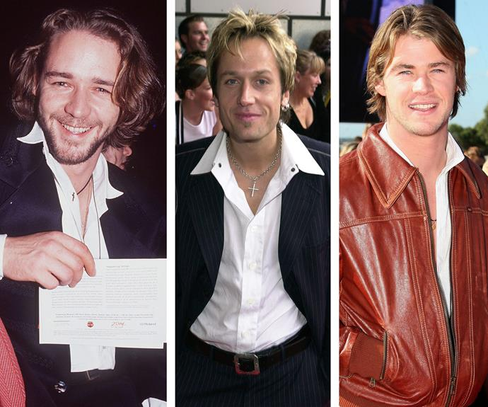 #TBT special: These Aussie babes sure have changed a lot since they last walked the red carpet! Russell Crowe, in his gorgeous pre-*Gladiator* days, smiled happily for the camera in 1993. Keith Urban has aged like a good wine (unlike those frosted tips in his hair!) in this red carpet snap from 2000. Who could forget a pre-*Thor* Chris Hemsworth, who was all about his rust-coloured leather jacket in 2006.