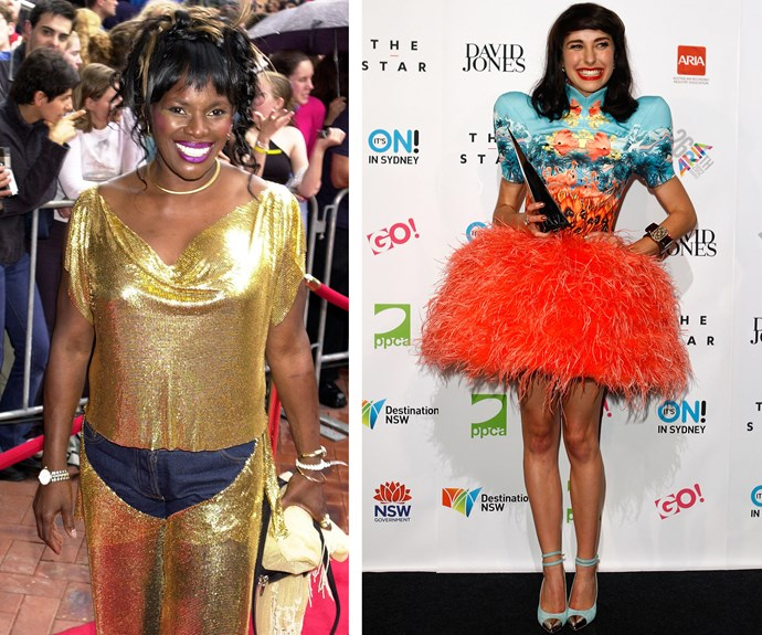 What the frock?! Marcia Hines decided that the new millennium was all about taking risks with fashion, and decided that a denim cut-out crotch was the perfect way to complete her gold, glo-mesh look. Meanwhile, Kimbra ensured that she would *never* be someone that we used to know by wearing this unforgettable feather ensemble that looked less like a dress and more like a work of art in 2012.
