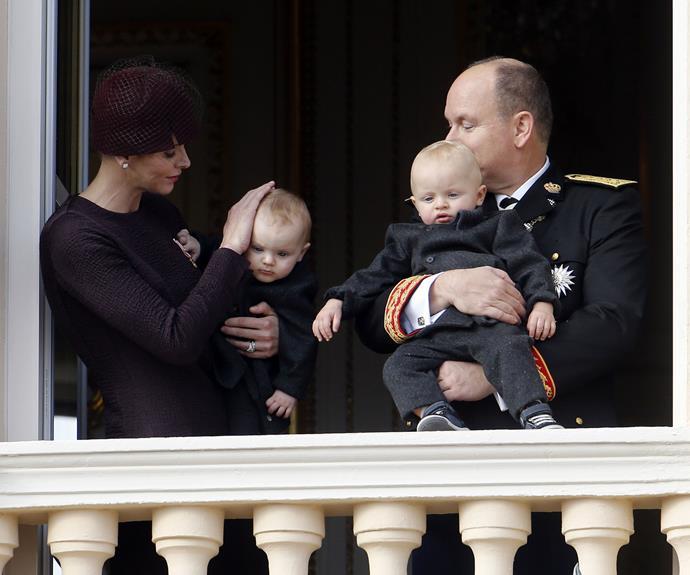 Prince Albert and Princess Charlene present their twins on Monaco National Day.