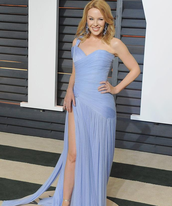 "All loved up! Kylie, pictured here at the Vanity Fair Oscar Party earlier this year, says her boyfriend makes her ""all gooey."""