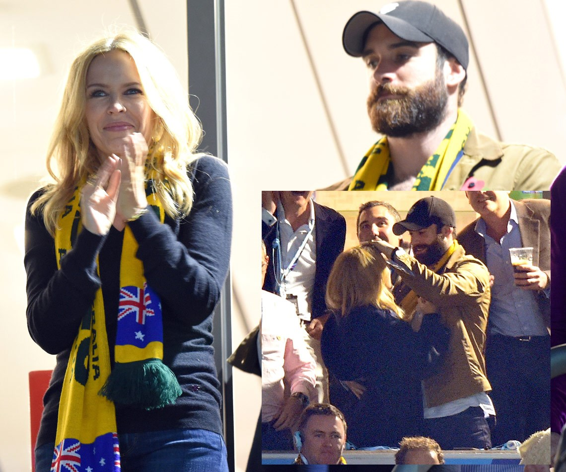The loved-up pair supporting a different kind of Aussie cause at last year's Rugby World Cup on October 31.