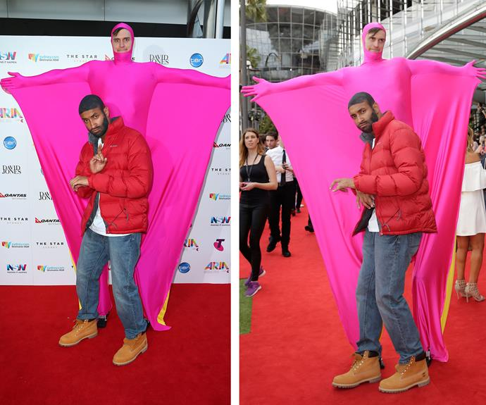 Someone needs to call *Triple J's* Matt and Alex on their hotline! Talk about blinging out with their costume - dressing up as Drake's *Hotline Bling* video clip = genius.