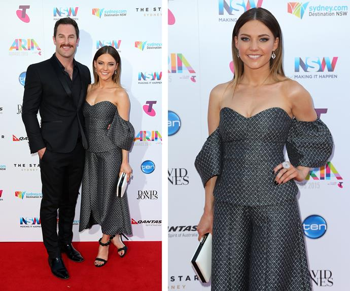 Give this girl a rose, Sam Frost looks delightful in this off-the-shoulder dress while her beau Sasha Mielczarek cut a dapper figure.