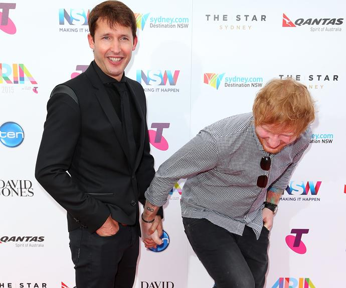 There's so much to love about James Blunt and Ed Sheeran joking about on the red carpet.