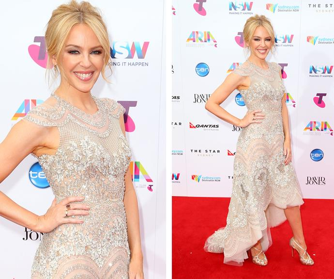 All hail Queen Kylie Minogue! Australia's pop princess opted for a sparkling gown while her blonde tresses were worn in an elegant 'up do.