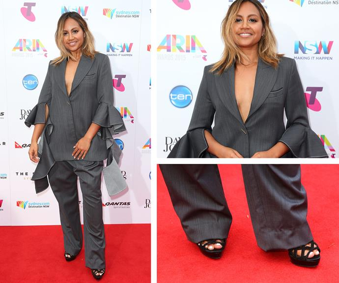 Jessica Mauboy opted for a business suit-inspired ensemble which featured tattered arms.