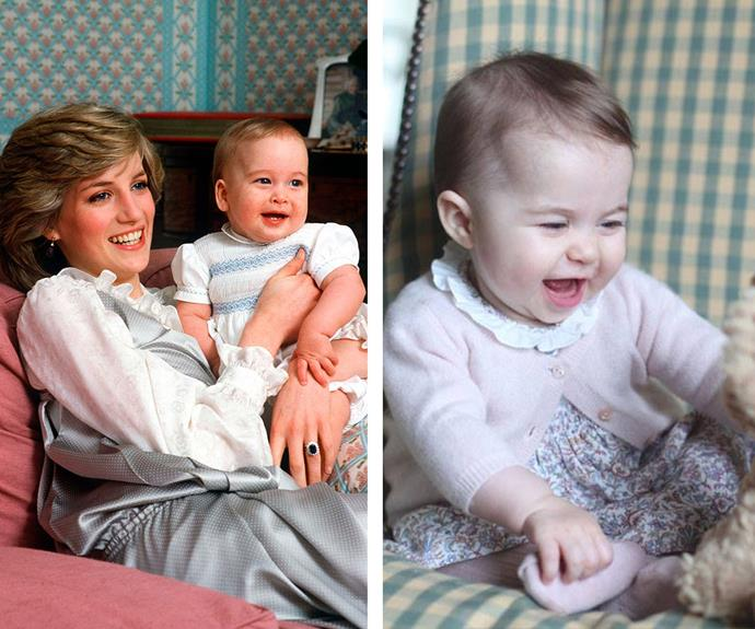The resemblance between a young Prince William (L) having a chuckle is eerily similar to his daughter.
