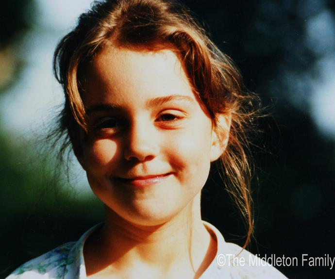 We can already see that Charlotte will inherit her mother's chocolate features. The Middleton family shared this pretty photo of when Kate was just five years old.