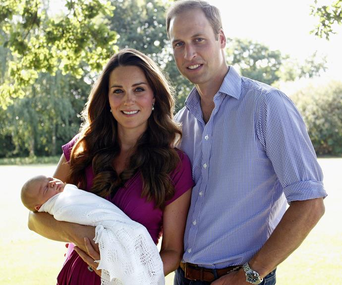 Breaking from tradition, Catherine asked her dad to take her family's first official portrait with a baby Prince George back in August 2013.