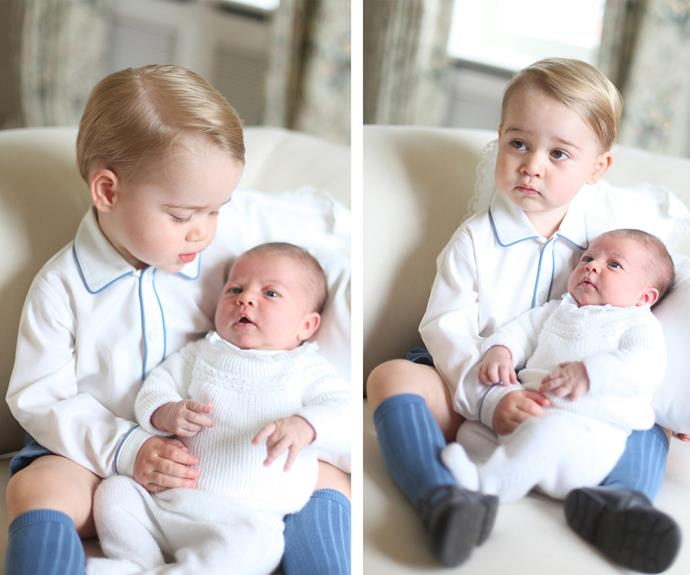 George, then 22 months, was seen tenderly holding his baby sister, marking the first official images of the princess.