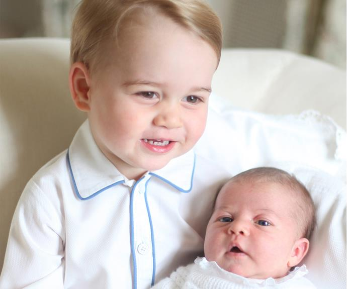 In 2015, the budding photographer shared a series of four images of Charlotte with her big brother, George, just weeks after her May birth.