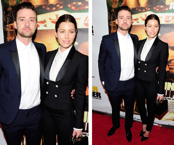 It's like you're his mirror, staring back at him! Jessica Biel and hubby Justin Timberlake suited up for the 2013 premiere of his film *Runner Runner*.