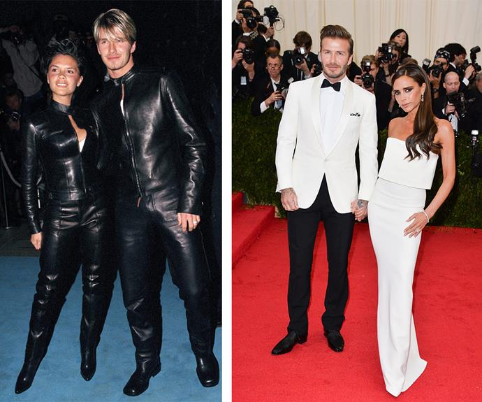 Posh and Becks have come a long way since they attended a London party in 1999 in head-to-toe leather ensembles (L). The fashion icons have learnt less is more. Case in point their chic white outfits at the Beyond Fashion Costume Institute Gala in New York last year.