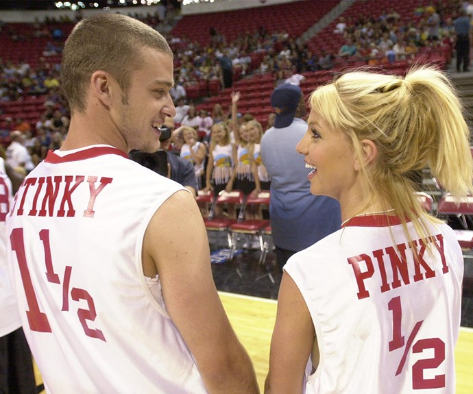 While their love didn't last, these images always will. Brit and Justin looked adorable at a charity basketball game in 2001.