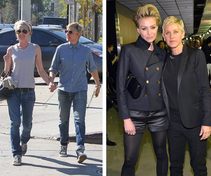 From day to night, Portia de Rossi and her wife Ellen DeGeneres nail the matchy matchy!