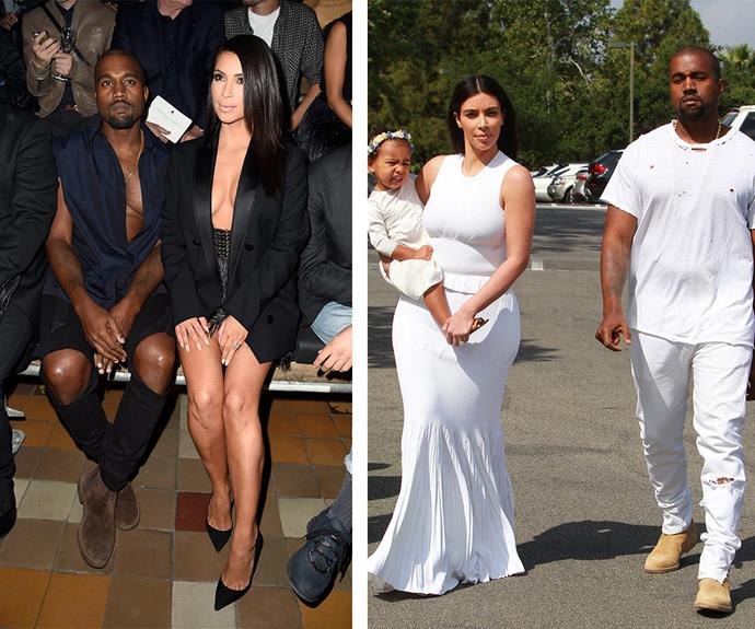Kimye opted for his and her cleavage at Paris Fashion Week last year while the family-of-three looked all white when they attended church together in April.