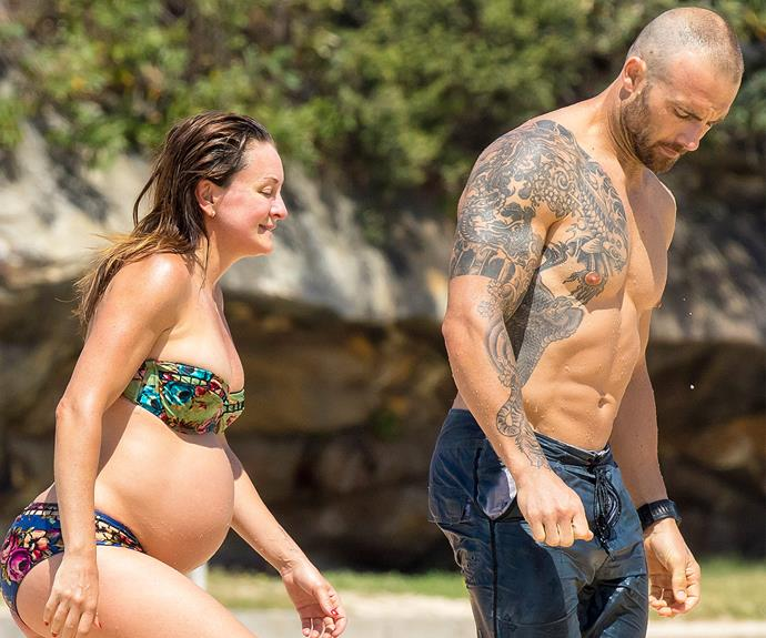 "The *Biggest Loser* stars Michelle Bridges and her partner Steve ""The Commando"" Willis enjoyed a romantic day out at the beach."