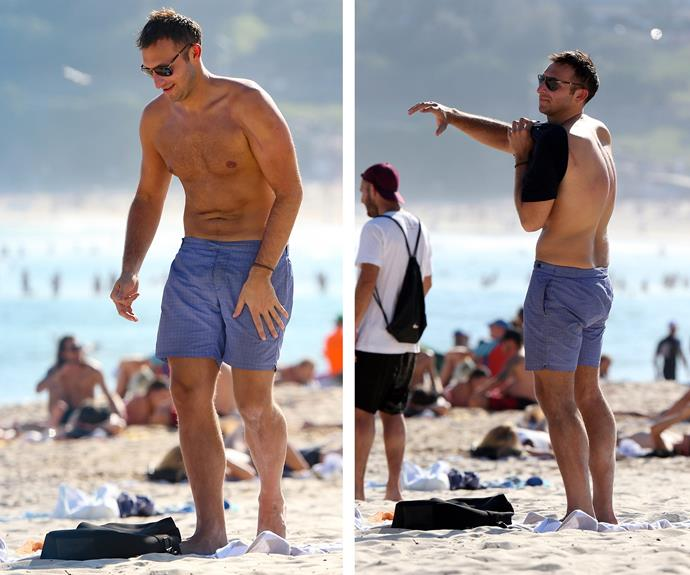 Ian Thorpe hit the surf at Bondi Beach recently. The former swimming champion enjoyed the surf and sand.