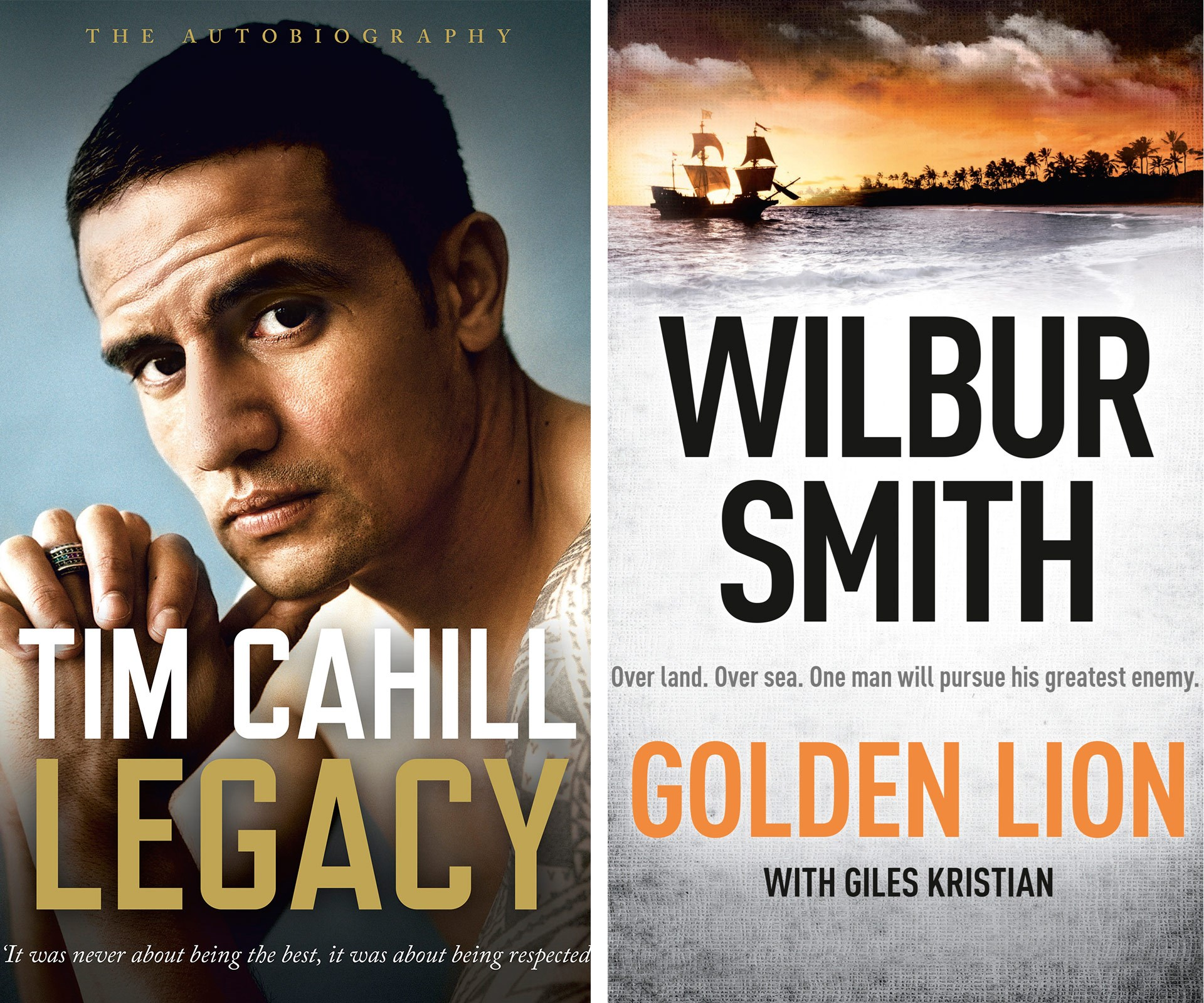You'll be kicking goals with your dad if you get him Tim Cahill's autobiography or Wilbur Smith's latest adventurous novel, *Golden Lion*.