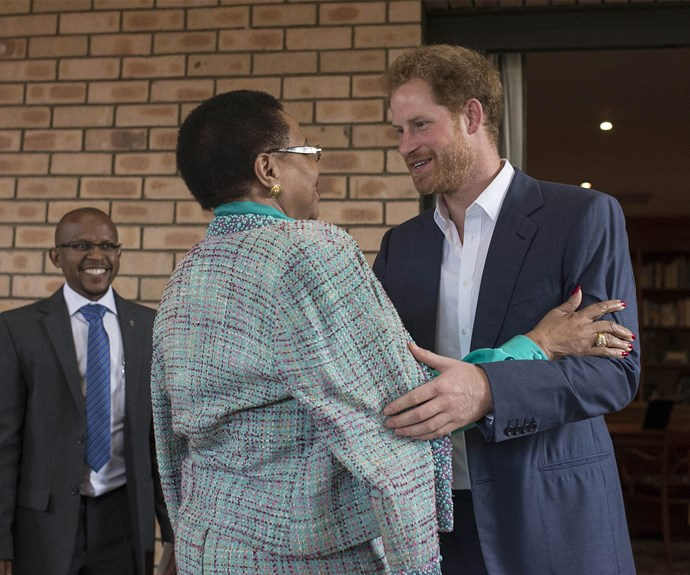 During his time at the offices, Harry also met with Nelson Mandela's widow Graca Machel, 70.