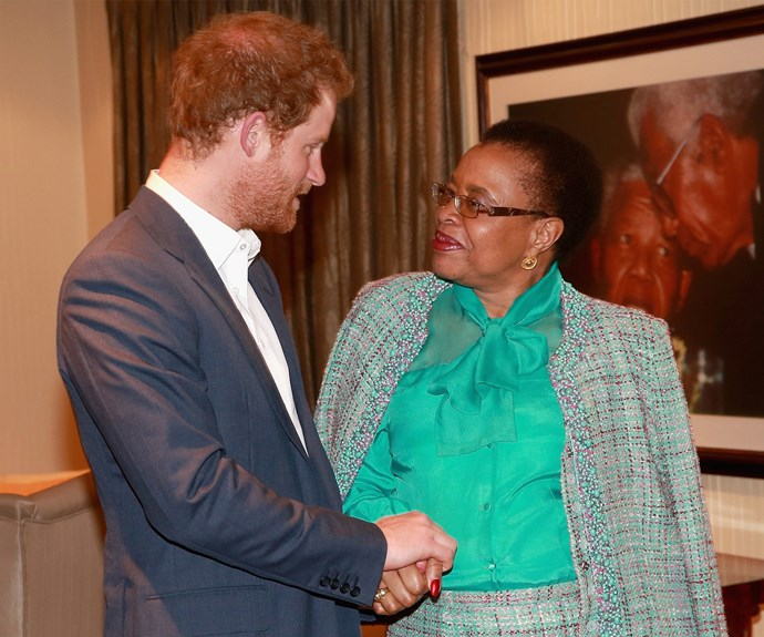"The pair fondly exchanged stories about their loved ones during the intimate meeting. Harry described Graca's husband as ""one of those people you want to hug and never let go,"" adding, ""I was fortunate enough to meet Madiba [as he was respectfully known] a number of years ago, and I have treasured that memory ever since."""