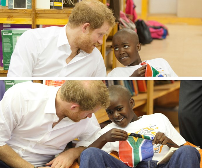 Rubbing shoulders with royalty: Prince Harry met Prince Mtimkulu during his visit to Siyabonga Secondary School. The 31-year-old meet children participating in the Nelson Mandela Champion within program in Soweto.